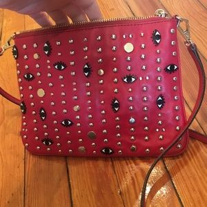 Rebecca Minkoff Red Evil Eye Gold Studs Handbag